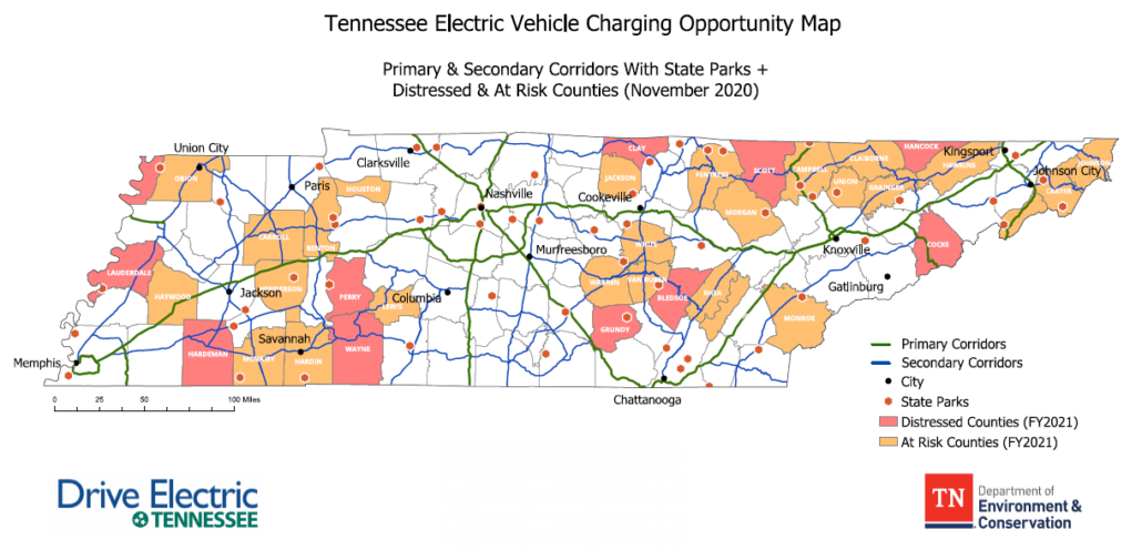 Map showing current EV corridors and distressed/at risk counties in Tennessee
