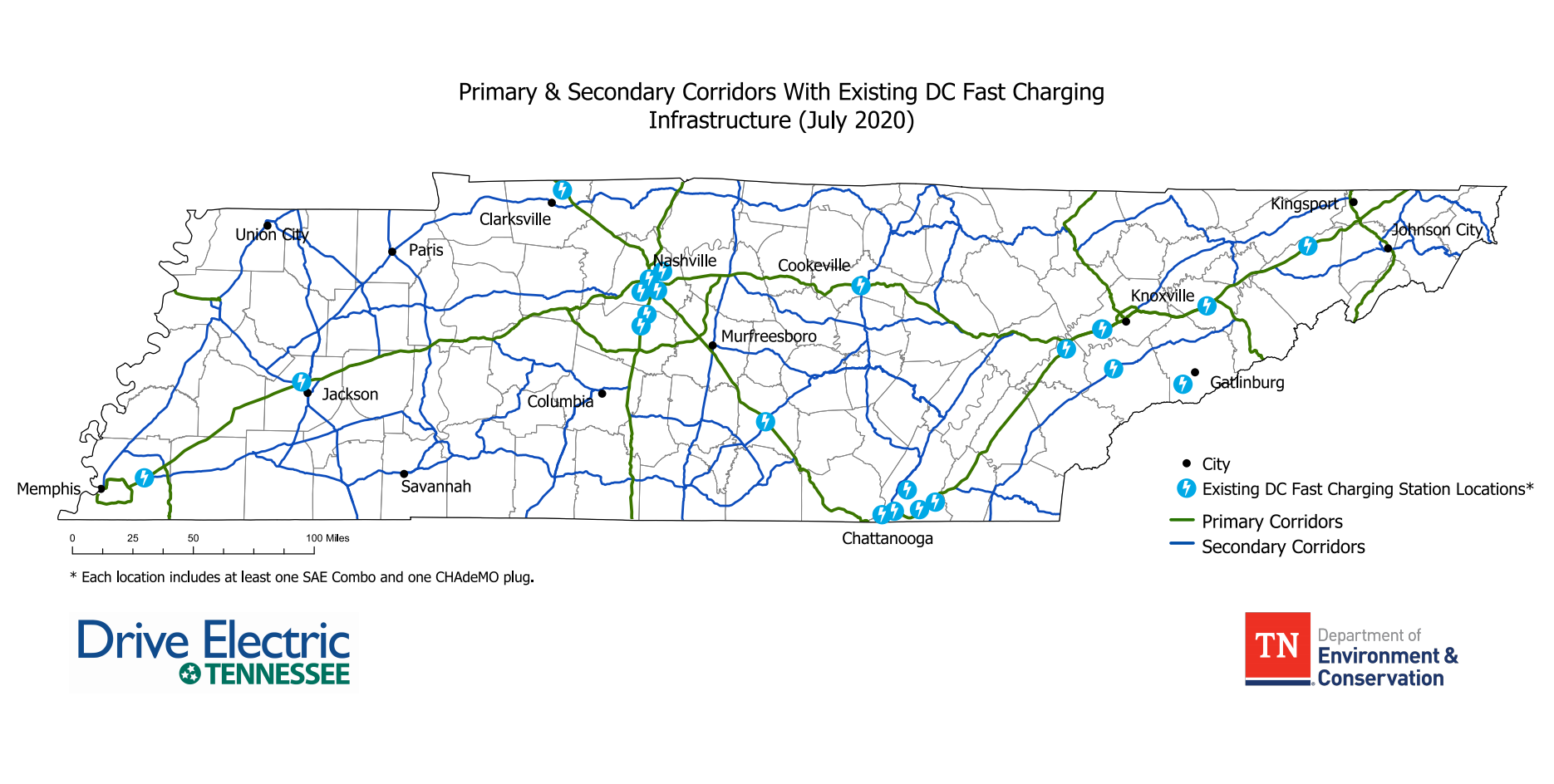Map of Electric Vehicle charging corridors in Tennessee