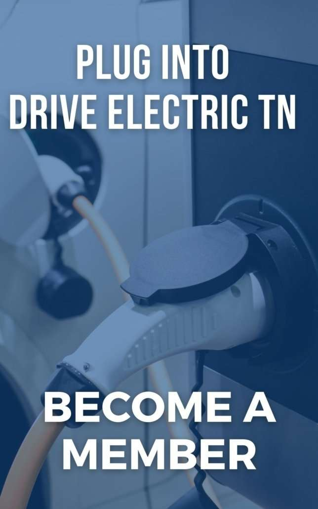 EV Charging plug in car: 'Plug into Drive Electric TN, Become a Member'