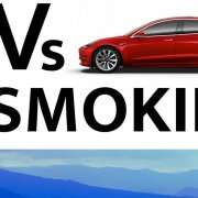 """Logo for """"EV In The Smokies"""" event with blue mountain range across bottom and red electric vehicle in top right corner."""